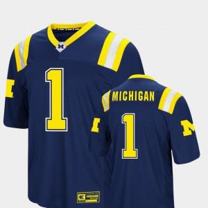 For Men's University of Michigan #1 Navy Foos-Ball Football Colosseum Jersey 503486-893