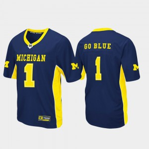 For Men's Wolverines #1 Navy Max Power Football Jersey 290335-306
