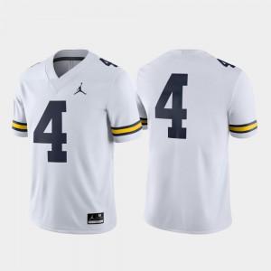Men Michigan #4 White Game College Football Jersey 879487-890