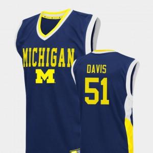 Men's Wolverines #51 Austin Davis Blue Fadeaway College Basketball Jersey 327303-504