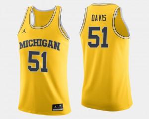 Men Wolverines #51 Austin Davis Maize College Basketball Jersey 177330-374