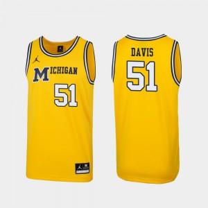 Men's Michigan Wolverines #51 Austin Davis Maize Replica 1989 Throwback College Basketball Jersey 518728-597