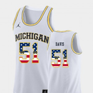 For Men's Wolverines #51 Austin Davis White USA Flag College Basketball Jersey 406847-326