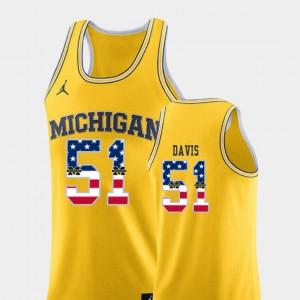 Mens Michigan #51 Austin Davis Yellow USA Flag College Basketball Jersey 391892-453