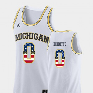 For Men Michigan #0 Brent Hibbitts White USA Flag College Basketball Jersey 572389-440