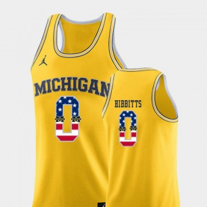 For Men Michigan #0 Brent Hibbitts Yellow USA Flag College Basketball Jersey 556371-731