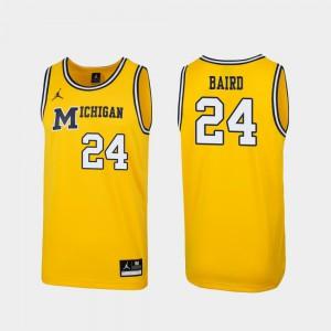 For Men Michigan #24 C.J. Baird Maize Replica 1989 Throwback College Basketball Jersey 739629-290