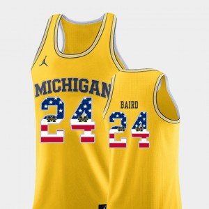 For Men's Michigan Wolverines #24 C.J. Baird Yellow USA Flag College Basketball Jersey 740598-129