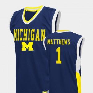 Men Wolverines #1 Charles Matthews Blue Fadeaway College Basketball Jersey 198531-147