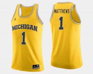 Men's Michigan Wolverines #1 Charles Matthews Maize College Basketball Jersey 578057-324