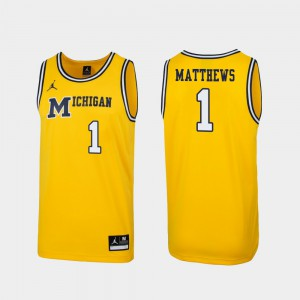 Men's Michigan Wolverines #1 Charles Matthews Maize Replica 1989 Throwback College Basketball Jersey 305785-768