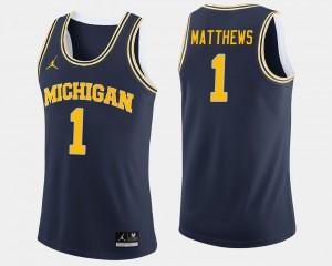 Men Michigan #1 Charles Matthews Navy College Basketball Jersey 631688-229