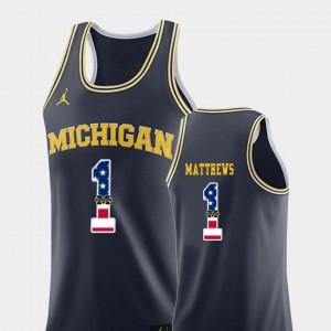 Men Michigan Wolverines #1 Charles Matthews Navy USA Flag College Basketball Jersey 392612-407