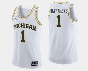 For Men Michigan #1 Charles Matthews White College Basketball Jersey 855004-220