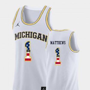Mens Michigan #1 Charles Matthews White USA Flag College Basketball Jersey 399842-841