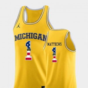 Mens Michigan #1 Charles Matthews Yellow USA Flag College Basketball Jersey 624345-434