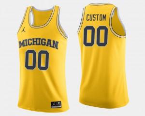 Men's University of Michigan #00 Maize College Basketball Custom Jerseys 956008-342