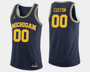 Men Michigan #00 Navy College Basketball Custom Jerseys 847438-802