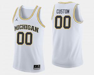 Men's Wolverines #00 White College Basketball Custom Jersey 241116-195