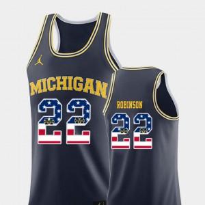 Men's University of Michigan #22 Duncan Robinson Navy USA Flag College Basketball Jersey 956256-244