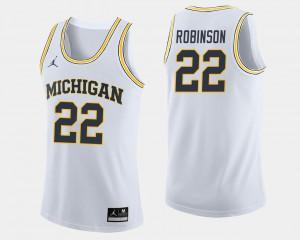 Mens Michigan #22 Duncan Robinson White College Basketball Jersey 128670-703