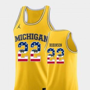 For Men's Michigan #22 Duncan Robinson Yellow USA Flag College Basketball Jersey 288044-671