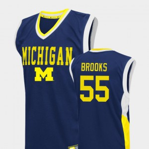 For Men's Michigan Wolverines #55 Eli Brooks Blue Fadeaway College Basketball Jersey 715099-204