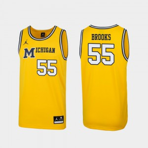 Men's Michigan Wolverines #55 Eli Brooks Maize Replica 1989 Throwback College Basketball Jersey 479763-352