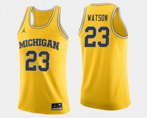 Mens Michigan #23 Ibi Watson Maize College Basketball Jersey 148104-162
