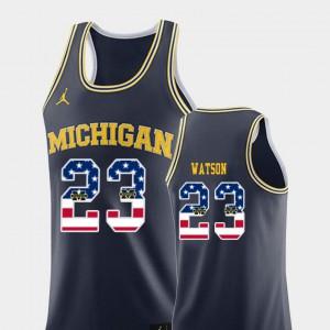 Men U of M #23 Ibi Watson Navy USA Flag College Basketball Jersey 387991-887