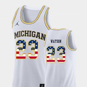 Men Michigan #23 Ibi Watson White USA Flag College Basketball Jersey 737467-432
