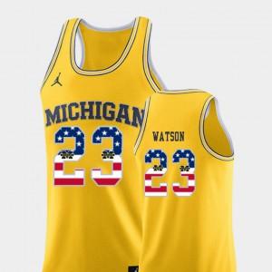 Men University of Michigan #23 Ibi Watson Yellow USA Flag College Basketball Jersey 649140-653