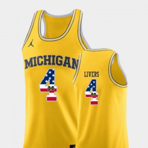 For Men's University of Michigan #4 Isaiah Livers Yellow USA Flag College Basketball Jersey 296057-207
