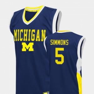 Men Michigan #5 Jaaron Simmons Blue Fadeaway College Basketball Jersey 116716-385