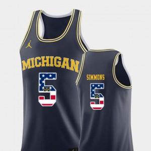 Men's Michigan Wolverines #5 Jaaron Simmons Navy USA Flag College Basketball Jersey 738395-298