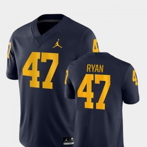 Mens Michigan Wolverines #47 Jake Ryan Navy Game College Football Jersey 840928-991