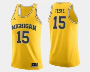 For Men's Michigan #15 Jon Teske Maize College Basketball Jersey 759314-201