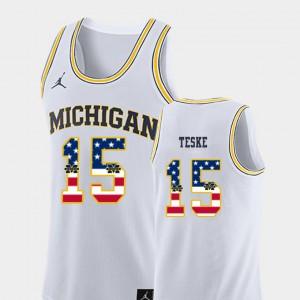 Mens Wolverines #15 Jon Teske White USA Flag College Basketball Jersey 742325-642