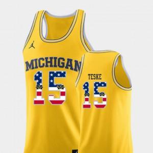 Men's Wolverines #15 Jon Teske Yellow USA Flag College Basketball Jersey 401558-825