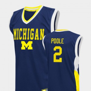 Men's U of M #2 Jordan Poole Blue Fadeaway College Basketball Jersey 740773-425
