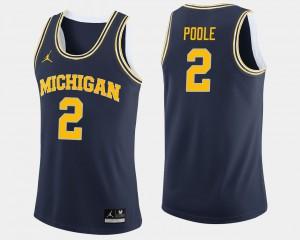 Mens Wolverines #2 Jordan Poole Navy College Basketball Jersey 292127-776