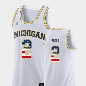 Men Michigan #2 Jordan Poole White USA Flag College Basketball Jersey 693193-542