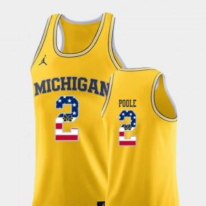 Men Michigan Wolverines #2 Jordan Poole Yellow USA Flag College Basketball Jersey 353686-223