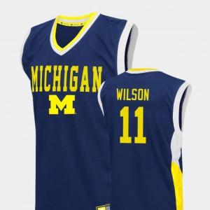 Men Michigan #11 Luke Wilson Blue Fadeaway College Basketball Jersey 339296-731
