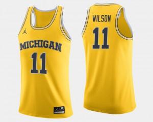 Men Michigan Wolverines #11 Luke Wilson Maize College Basketball Jersey 619099-518