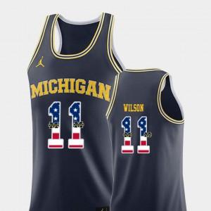 Mens U of M #11 Luke Wilson Navy USA Flag College Basketball Jersey 561540-328