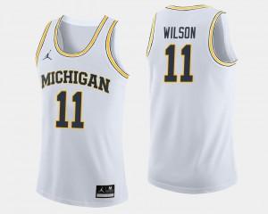 Men Wolverines #11 Luke Wilson White College Basketball Jersey 341596-363