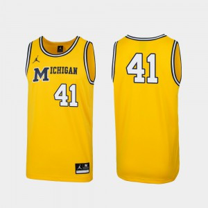 For Men Michigan Wolverines #41 Maize Replica 1989 Throwback College Basketball Jersey 235294-785