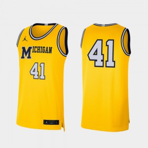 Men Wolverines #41 Maize Retro Limited College Basketball Jersey 313789-691
