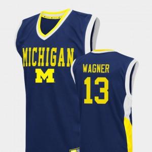 For Men's Michigan #13 Moritz Wagner Blue Fadeaway College Basketball Jersey 769921-144